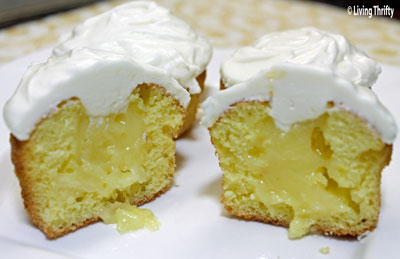 Lemon Custard filled Cupcakes with Cream Cheese Frosting